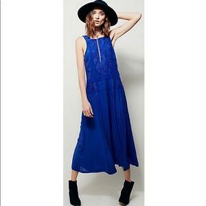 Free People Blue Midi Dress size small